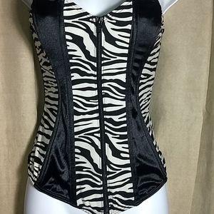 80's zebra zip up bustier